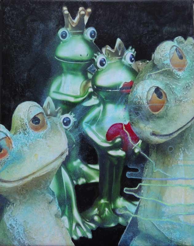 les grenouilles amoureuses. 24cm X 17 cm. 2015 .photo +encre+acrylique