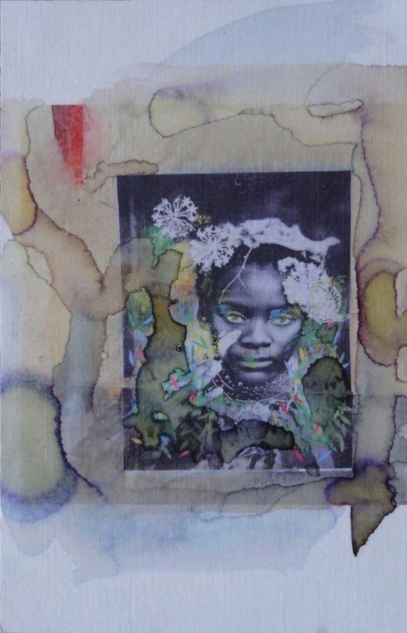beauté africaine .2016 .13cmX21cm .photo retravaillée avec encres et acrylique