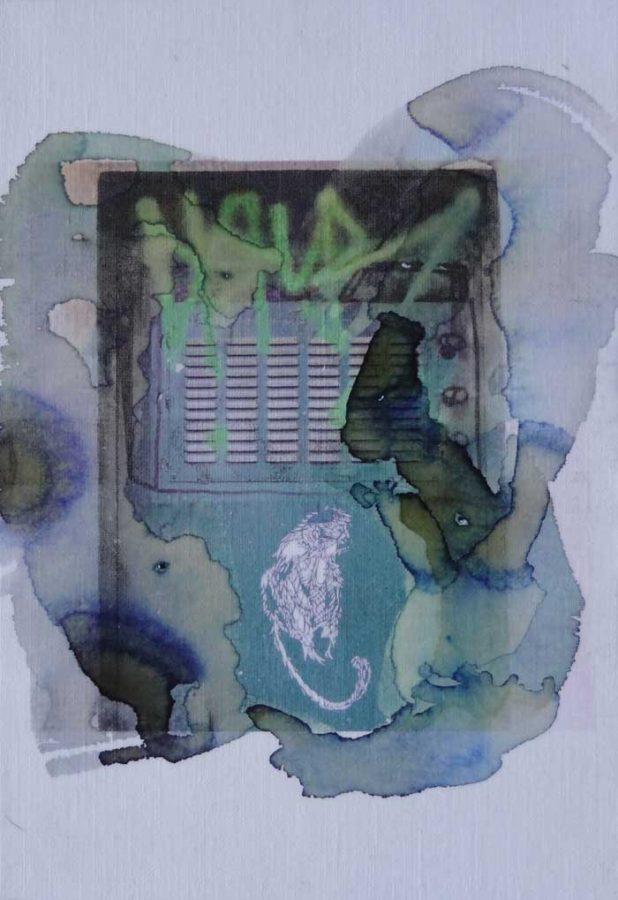 le petit singe. 2016 .13cmX21cm .photo retravaillée avec encres et acrylique